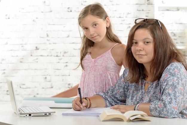 Jugendliche, die ihre hausaufgaben mit ihrer kleinen schwester tut