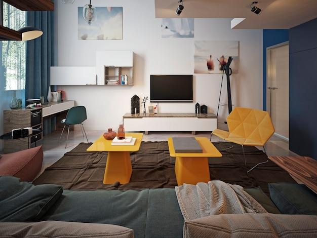 Jugendzimmer mit modernem design, tv-wand und arbeitsbereich sowie zwei gelben designer-couchtischen.