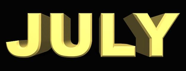 Juli monat des jahres gelbe buchstaben auf dunklem hintergrund
