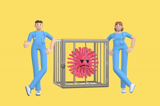 Junge ärzte besiegten das virus und sperrten es in einen käfig. lustige und beängstigende zeichentrickfigur des sars-moleküls. stoppen sie krankheit, pandemie