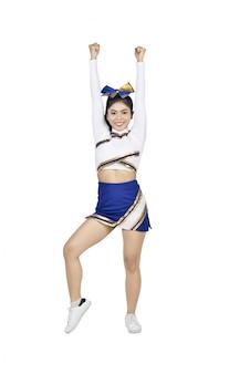 Junge asiatische cheerleaderin im blauen und weißen anzug