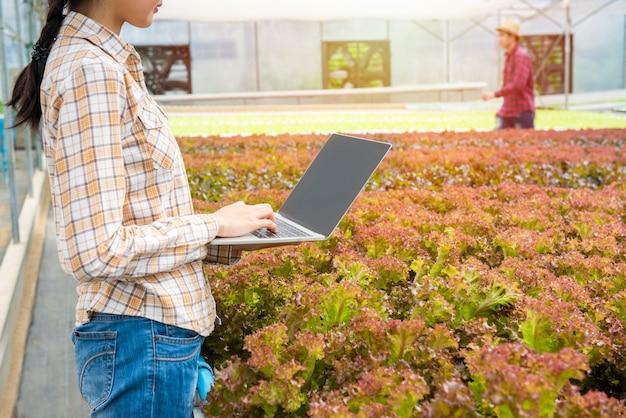 Junge asiatische frau, die laptop verwendet, überprüfen die qualitätskontrolle der landwirtschaftsnahrung im gewächshaus-bio-kindergarten, junges geschäftsunternehmerprodukt der neuen generation landwirtkonzept