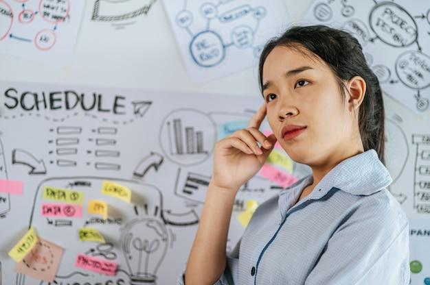 Junge asiatische frau lächelt und präsentiert planung des projekts an bord im konferenzraum, kopierraum