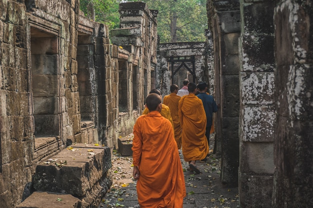 Junge buddhistische mönche, die im tempel in safranroben gehen und über angkor wat hinausschauen.