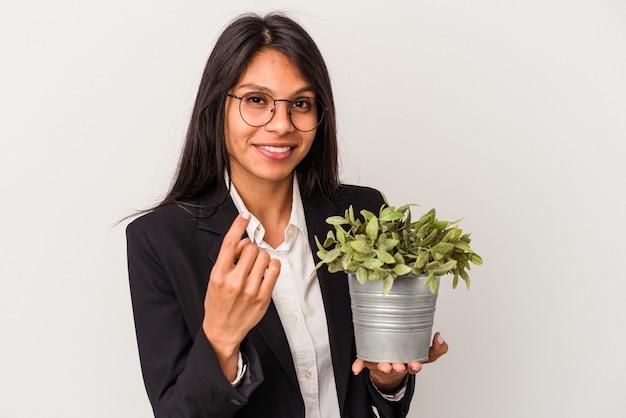 Junge business-latein-frau, die pflanzen isoliert auf weißem hintergrund hält und mit dem finger auf sie zeigt, als ob sie einladen, näher zu kommen.