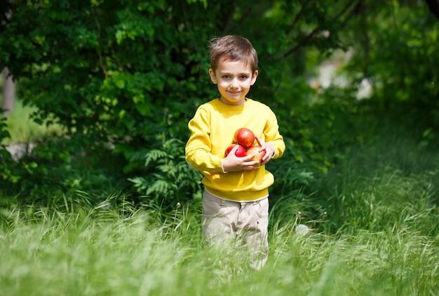 Junge, der äpfel hält