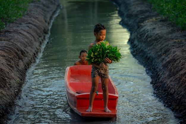 Junge, der in der gemüsefarm nahe dem schwimmenden markt damnoen saduak, provinz ratchaburi spielt