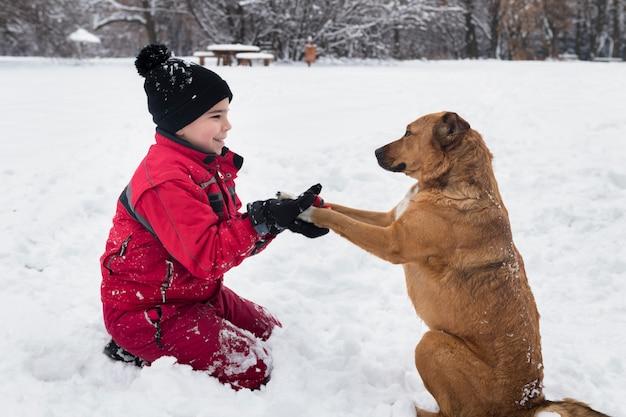 Junge, der mit braunem hund auf schnee im winter spielt