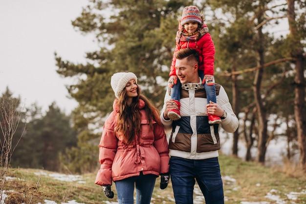 Junge familie, die zusammen in wald zur winterzeit geht