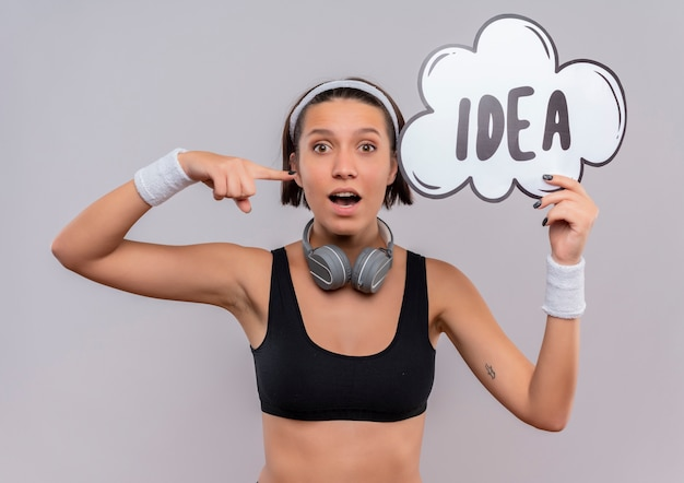 Junge fitnessfrau in der sportbekleidung mit dem stirnband, das sprachblasenzeichen mit wortidee hält, die mit dem finger darauf zeigt, der überrascht schaut