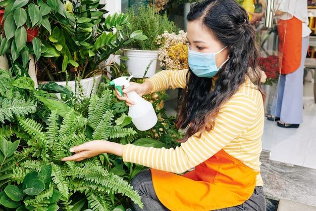 Junge floristin, die medizinische maske wegen coronavirus-pandemie beim sprühen von farnblättern trägt