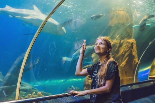 Junge frau, die fisch in einem tunnelaquarium betrachtet
