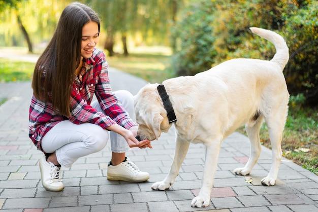 Junge frau, die mit ihrem hund im park spielt