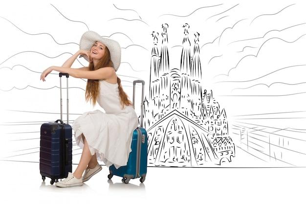 Junge frau, die nach spanien reist, um sagrada familia zu sehen