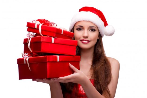 Junge frau im schneemädchenkostüm im weihnachtskonzept