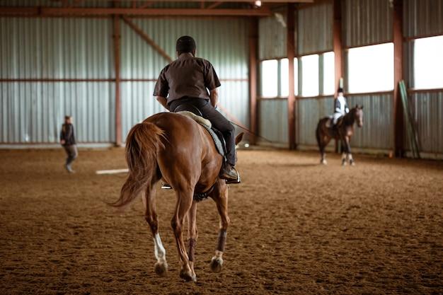 Junge frau in besonderer uniform und helmreitpferd. pferdesport