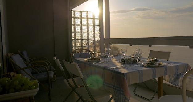 Junge frau serviert abendessen auf dem balkon mit blick auf das meer bei sonnenuntergang. fischgerichte, glas und geschirr auf dem tisch