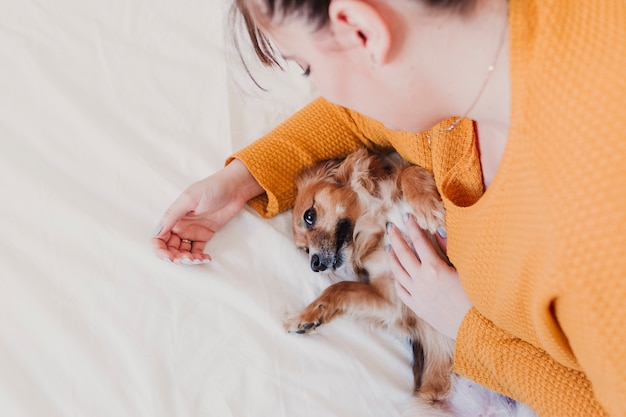 Junge frau und ihr süßer hund, der auf bett liegt. liebe für tiere konzept. draufsicht