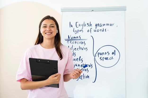Junge frau unterrichtet englischunterricht