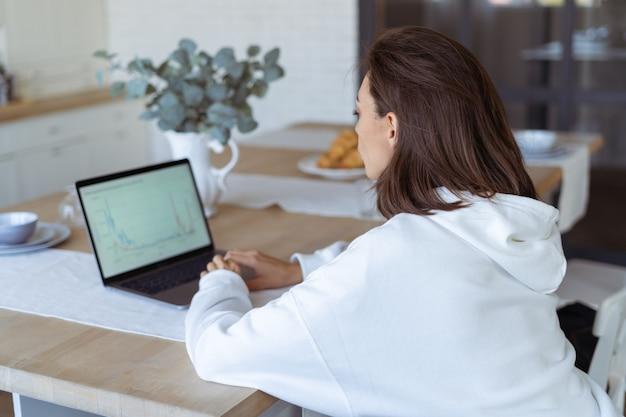 Junge frau zu hause in der küche in einem weißen hoodie mit einem laptop, beraterin für finanzgeschäftsanalysen mit daten-dashboard-diagrammen