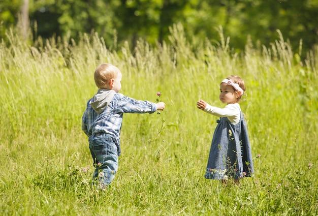 Junge gibt dem mädchen eine blume. kleine kinder spielen draußen