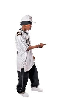 Junge hip-hop-tänzerin auf weiß