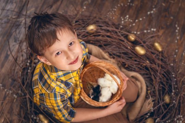 Junge mit hühnern im nest