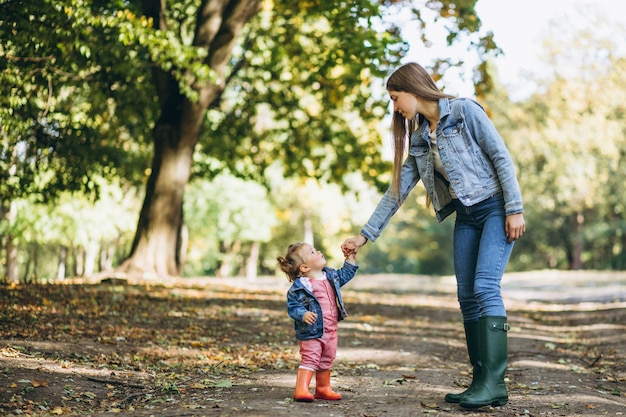Junge mutter mit ihrer kleinen tochter in einem herbstpark