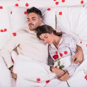 Junge paare, die im bett mit den roten rosafarbenen blumenblättern schlafen