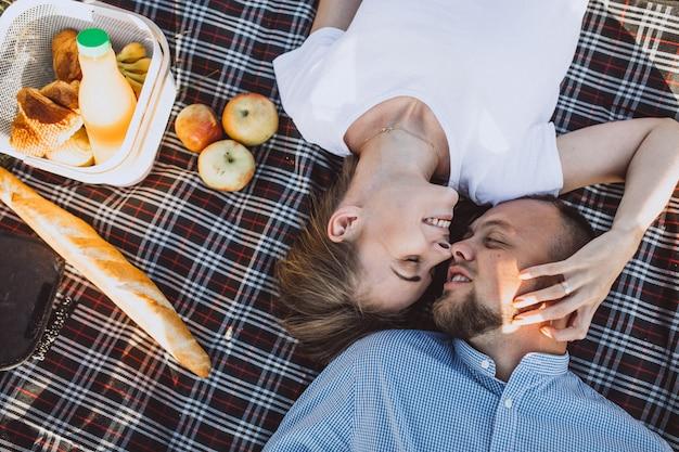 Junge paare, die picknick im park haben