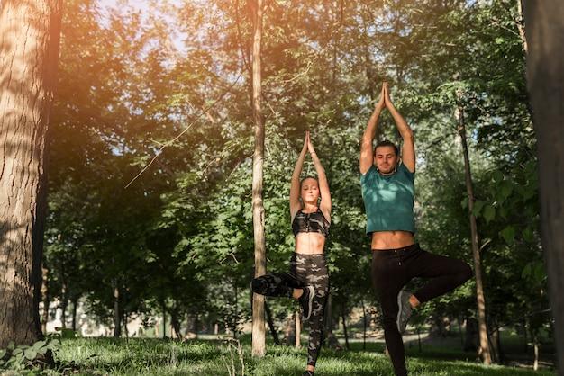 Junge paare, die yoga im park tun