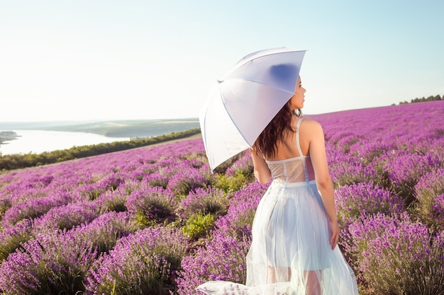 Junge schöne frau mit regenschirm in einem lavendelfeld