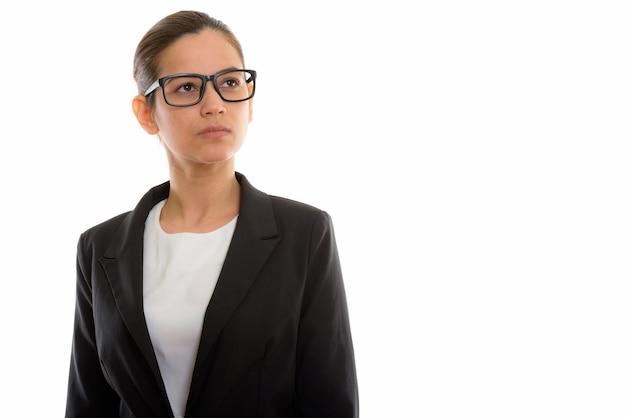 Junge schöne geschäftsfrau, die brillen trägt