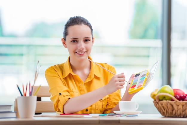 Junge schule gilr zeichnungsbilder zu hause