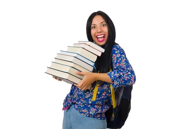 Junge studentin mit büchern auf weiß