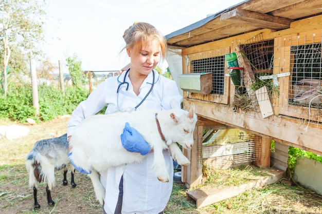 Junge tierarztfrau mit stethoskop, das ziegenkind auf ranch hält und untersucht