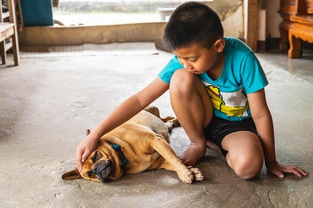 Junge und sein hund