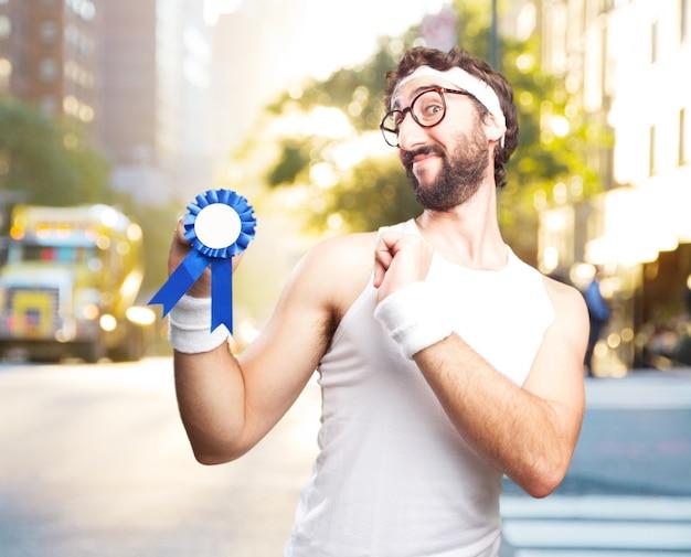Junge verrückt sport mann. glücklichen ausdruck