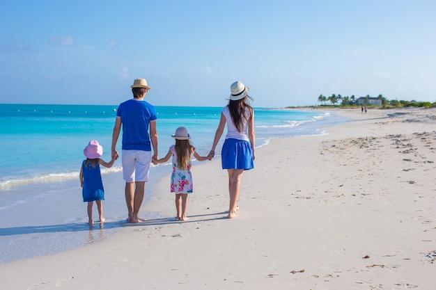 Junge vierköpfige familie der hinteren ansicht auf tropischem strand