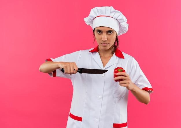 Junge weibliche köchin, die kochuniform hält messer und pfeffer auf isolierter rosa wand mit kopienraum