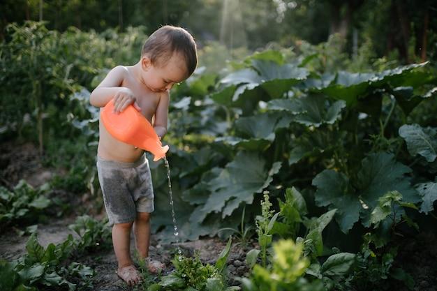 Jungenkind, das den garten im sommer wässert