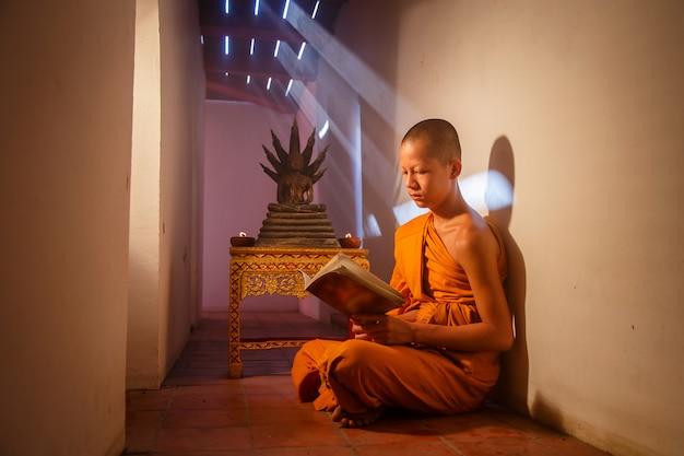 Junger anfängermönch, der ein buch an historischem park ayutthaya in thailand liest