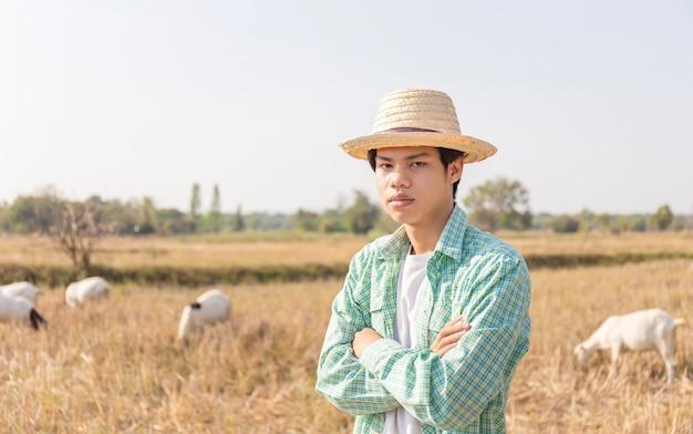 Junger asiatischer bauernmann, der mit den armen verschränkte verwischte ziegen steht, die gras im feld essen, kluges bauernkonzept