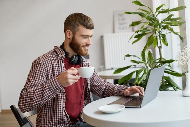 Junger attraktiver bärtiger mann des ingwers, der an einem laptop arbeitet, während er in einem café sitzt, kaffee trinkt, in der grundkleidung trägt, breit lächelt und die arbeit genießt.