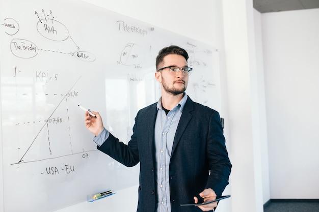 Junger attraktiver dunkelhaariger mann in gläsern zeigt einen geschäftsplan auf whiteboard. er trägt ein blaues hemd und eine dunkle jacke. Kostenlose Fotos