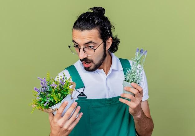 Junger bärtiger gärtnermann, der overall hält, der topfpflanzen hält, die sie verwirrt betrachten und versuchen, wahl zu treffen, die über hellgrüner wand steht