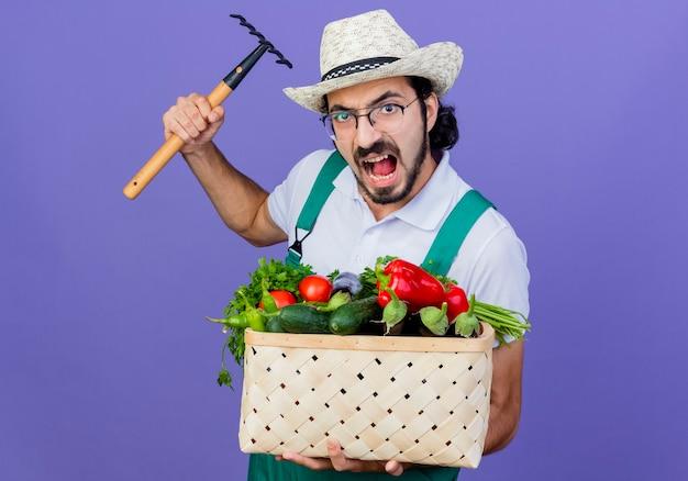 Junger bärtiger gärtnermann, der overall und hut hält kiste voll von gemüse schwingt einen mini-rechen mit wütendem gesicht, das über blauer wand steht