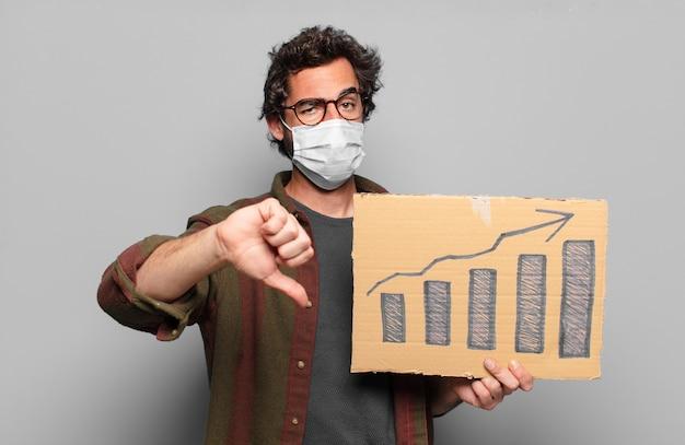 Junger bärtiger mann mit einer medizinischen maske und grafischen balken