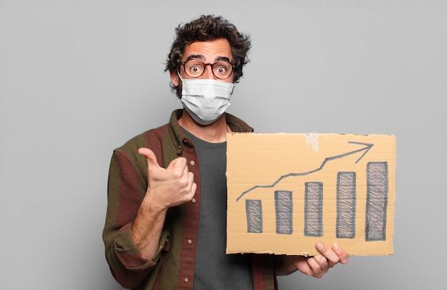 Junger bärtiger mann mit einer medizinischen maske. wachstumskonzept