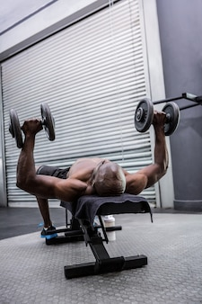 Junger bodybuilder, der gewichtheben tut